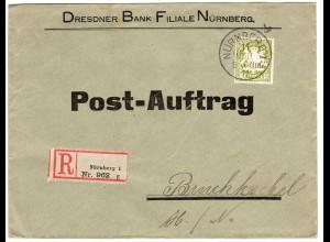 Bayern 1911, 30 Pf auf Einschreiben Post-Auftrag Brief v. Nürnberg n. Bruchköbel