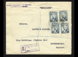 Mexico GB 1922, Einschreiben Brief v. Pachuca m. 4mal 10 Cvos. #1182