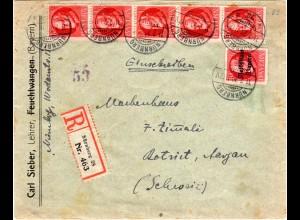 Bayern 1920, 5x10+10 Pf. Volksstaat auf Einschreiben Zensur Brief v. Nürnberg