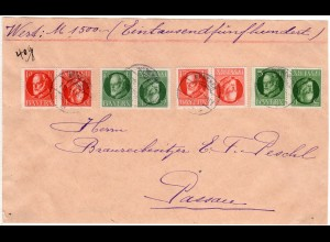 Bayern 1917, 4 Kehrdruck Paare auf Wert Brief Vorderseite v. München