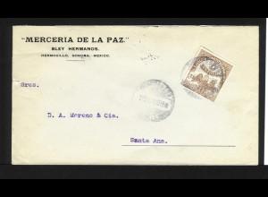 Mexico 1913, Transitorio 5 Cvos. auf gelaufenem Firmen Brief n. Santa Ana.#1181