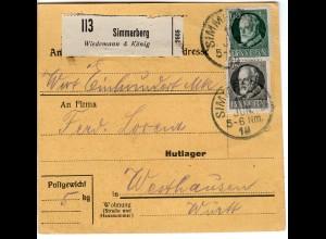 Bayern 1919, MeF 2x25 Pf. auf Paketkarte v. SIMMERBERG m. Selbstbucher-Zettel!