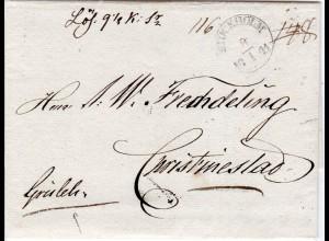 Schweden 1841, K1 STOCHHOLM auf Porto Brief via Aaland n. Finnland