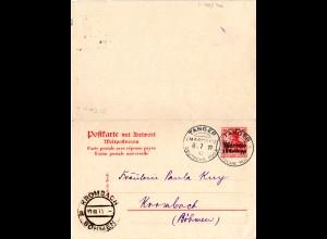 DP Marokko P12, sauber n. Österreich gebr. 10+10 Pf. Doppelkarte Ganzsache