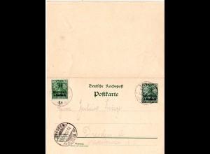 DP Marokko P7, sauber v. Tanger gebr. 5+5 Pf Doppelkarte Ganzsache m. Zusatzfr.