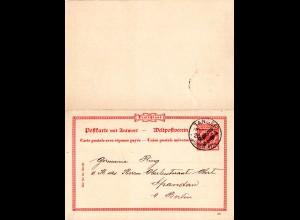 DP Marokko P4, sauber v. TANGER gebr. 10+10 Pf. Doppelkarte Ganzsache
