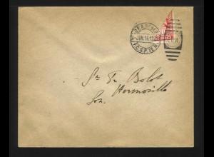 Mexiko 1914, Transitorio 10 C. Diagonal Halbierung auf gelaufenem Brief. #1180