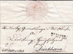 Bayern 1832, L2 München auf Brief an das Hauptsalzamt Dürkheim, Pfalz