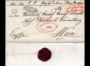 Österreich 1832, grünlicher Zierstpl. NEUNKIRCHEN klar auf Brief n. Wien