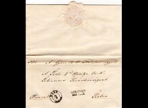 Österreich Ungarn 1852, Zier-K2 RAAB u. Nach Abgang der Post auf schönem Brief