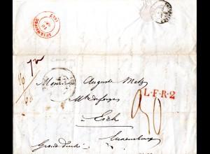 Frankreich 1847, Brief v. Longwy n. Luxembourg m. LFR2 u. Porto 30 C.