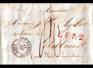 Frankreich 1847, Brief v. Ay-Champagne n. Luxembourg m. LFR2 u. Porto 40 C.