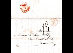 Neapel Italien 1860, roter K2 D-SICILES Marseille auf Schiffsbrief v. Napoli