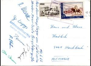 Peru 1966, Karte m. Unterschriften v.d. ANDENEXPEDITION Sektion Oberland