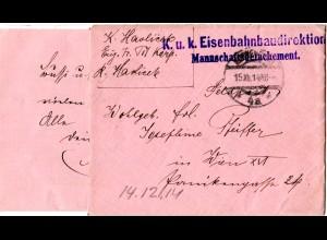 Österreich 1914, Eisenbahn Baudirektion FP-Brief v. Korneuburg m. kpl. Inhalt