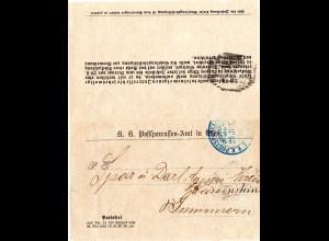Österreich 1898, Kartenbrief m. blauem Stpl. K.K. POSTSPARKASSENAMT WIEN