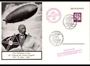 1967, 50. Todestag Graf Zeppelin, Sonderkarte m. Sonderstpl. u Atomluftschiff-K2