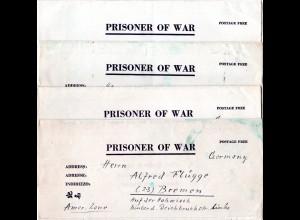 1946, kl. Korrespondenz v. 4 KGF POW Briefen n. Bremen m. interessantem Inhalt
