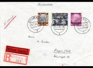 Generalgouvernement 1940, 3+2 Zl.+80 Gr. auf Reko-Express Brief v. Krakau