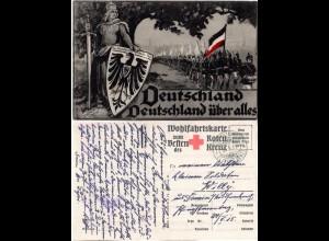 Deutschland über alles m. Militär u. Germania, 1915 m. FP gebr. Rot Kreuz AK