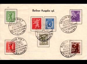 1946, kpl. Berlin Ausgabe m. 5 Pf. zickzack-Durchst. auf Sonderblatt m SPD Stpl.