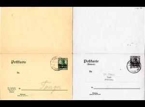 DP Marokko P 11, 5+5 C. Doppel Ganzsache, beide Teile gest. TANGER 1908
