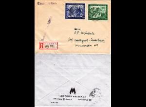 1948, Leipziger Messe 50+84 Pf. auf Einschreiben Brief v. Leipziger Messeamt
