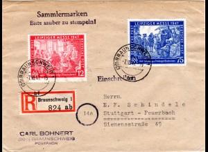 1947, Leipziger Messe 12+75 Pf auf Einschreiben Brief m. Tagesstpl. Braunschweig