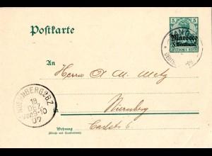DP Marokko P 9x, 5 C. Ganzsache m. WZ, gebr. v. Tanger n. Bayern