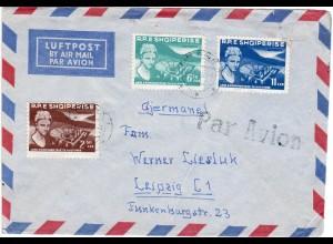 Albanien 1960, 3 Marken auf Luftpost Brief v. Tirana n. Deutschland