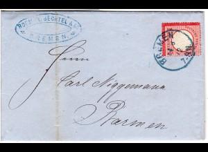 DR 1872, 1 Gr. kl. Brustschild auf Brief m. blauem K1 BREMEN