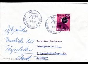 Norwegen 1967, 60 öre auf Polar Brief m. Stpl. LONGYEARBYEN m. Rentier