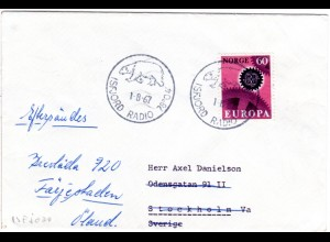 Norwegen 1967, 60 öre auf Polar Brief m. Stpl. ISFJORD RADIO m. Eisbär