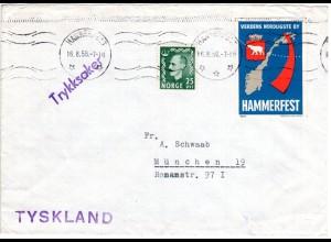 Norwegen 1956, 25 öre auf Drucksache Brief v. Hammerfest m. Polar Vignette