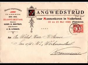 NL 1903, 1 C. auf attraktivem Vordruck Umschlag des Männer Gesangverein Arnhem