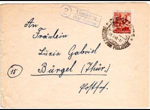 1948, Landpost Stpl. 2 LIMBERG über Cottbus klar auf Brief m. 24 Pf.