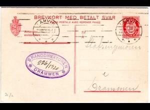 Norwegen P59, 10+10 öre Doppelkarte Ganzsache v. Larvik n. Drammen