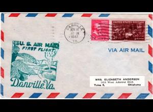 US 1947, Danville Erstflug Stpl. m. Tabakpflanze u. Zigarette, Brief m. 2+3 C.