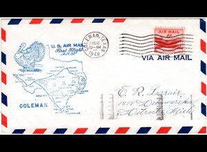 US 1949, Coleman Erstflug Stpl. m. Truthahn, Turkey, Brief m. 6 C.