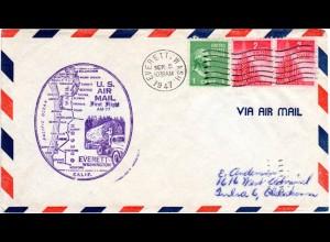 US 1947, Everett Erstflug Stpl. m. Baumstamm auf LKW, Brief m. 3 Marken