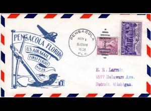 US 1938, Pensacola Erstflug Stpl. m. Anker, Brief m. 2 Marken