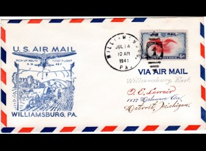 US 1938, Williamsburg Erstflug Stpl. m. Traktor, Pflug u. Kuh, Brief m. 6 C.