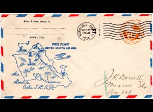 USA 1934, Hawaii First Flight cover from Honolulu, Oahu, T. H.
