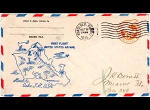 USA 1934, Hawaii First Flight cover from Honolulu, Oahu, T. H.