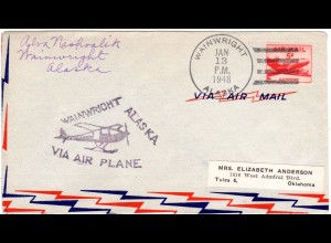 USA 1948, Wainwright Alaska Flight cover with 5 C.