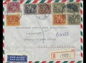 Portugal 1962, Einschreiben Luftpost Brief v. Covilha n. Süd Afrika!