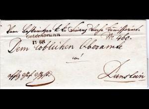 Österreich 1846, Mähren-L1 GOLDENBRUNN auf Brief v. Lefkowitz n. Dernstein