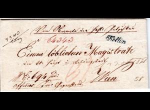Österreich 1838, Böhmen-L2 KOLLIN (geschwungenes K) klar auf Brief n Wien