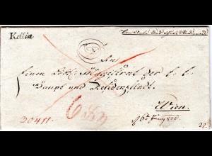 Österreich 1822, Böhmen-L2 KOLLIN (gerades K) klar auf Brief n Wien