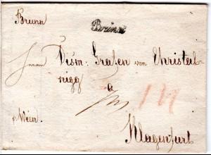 Österreich 1823, Mähren Schreibschrift-L1 Brünn klar auf Brief n. Klagenfurt